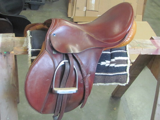 """Stubben 17.5"""" Brown Leather Saddle w/stirrups  (see lot 13 for pad)"""
