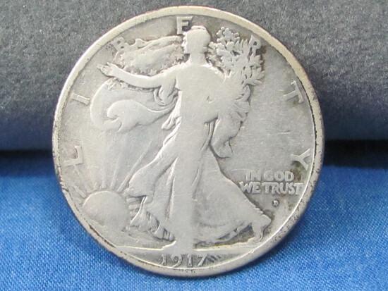 1917 D Obv. Walking Liberty Half Dollar