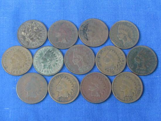 13 Indian Head Pennies (1892-1907)