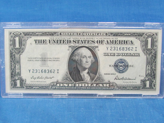 1935-F Silver Certificate $1 Currency in an acrylic case