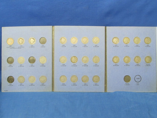 Liberty Head nickel book (missing: 1885, 1886, 1888, 1890 & 1912-S 28 coins)