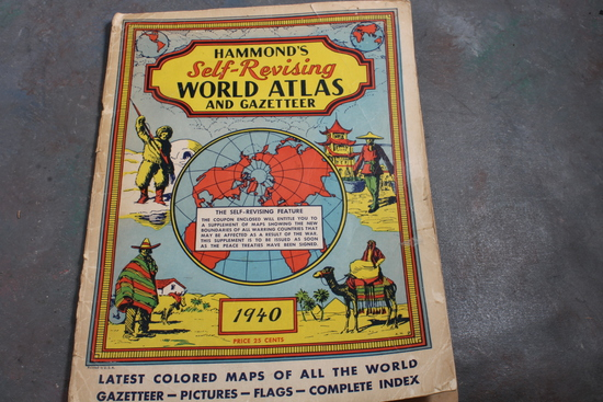 1940 Hammond's Self-Revising World Atlas and Gazetteer - Latest Maps of all the World