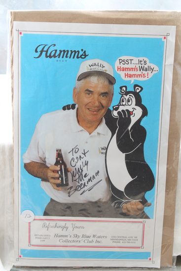 "Rare Hamm's Beer - Signed Wally The Beer Man 14"" x 8 1/2"" Poster with Hamm's Bear"