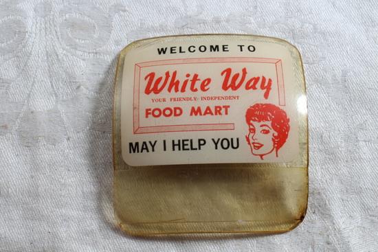 Vintage White Way Food Mart Employee Plastic Badge Long Beach 13, Calif.