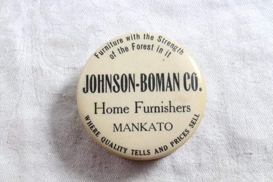 Mid-Century Celluloid Tape Measure Advertising Johnson-Boman Co. Mankato, Minnesota