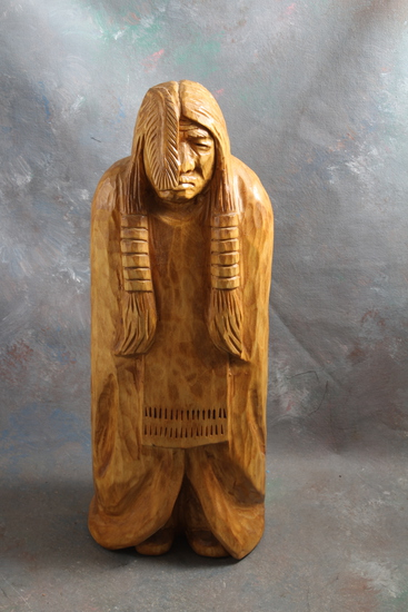 "1999 J. Larson Signed Large Native American Indian Wood Carving 15"" Tall"