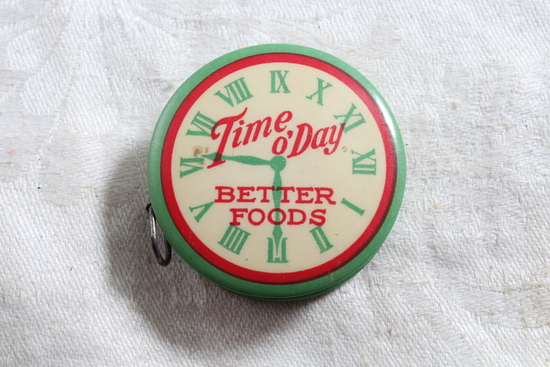 Mid-Century Celluloid Tape Measure Advertising Time O'Day Foods White Front Grocery of