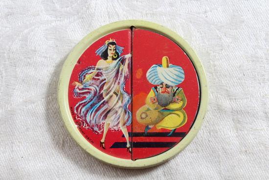 Vintage Unique Pocket Mirror with Genie & Semi-Nude Belly Dancer Flip Top