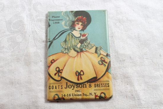Antique Celluloid Victorian Pocket Mirror Adv. Joyson's Dresses 14-16 Union Sq. N.Y.