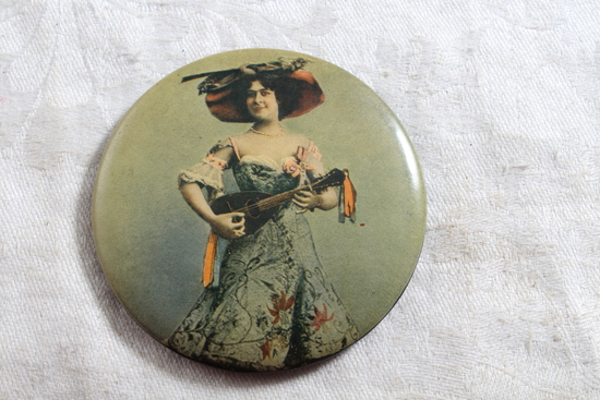 Antique Victorian Lady Playing Instrument Celluloid Pocket Mirror