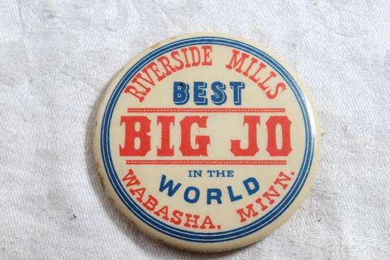 Mid-Century Celluloid Advertising Pocket Mirror BIG JO Flour Wabasha, Minn.