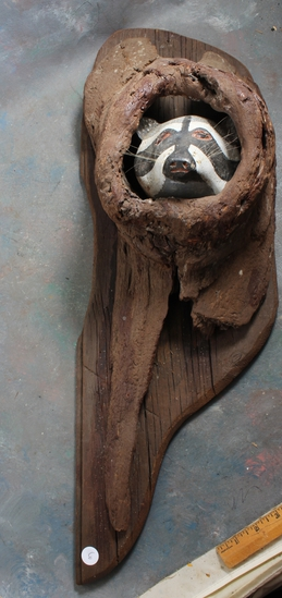 Large Wood Carving of Racoon Peering Out of a Log This Piece is Unsigned