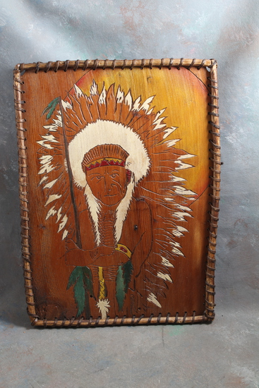 "Vintage Indian Chief Carved Wall Plaque With Leather Wrapped Twig Frame 15"" x 11"""