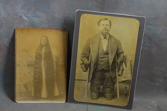 2 Reproduction Cabinet Card Photographs of Oddities Woman Hair to Floor, Man with no Legs