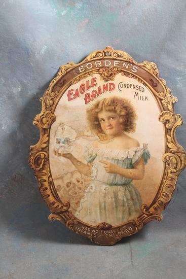 """Victorian Borden's Eagle Brand Condensed Milk General Store Fan Pull 12 1/2"""" x 9 3/4"""""""
