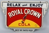 1940 ROYAL CROWN DOUBLE SIDED HANGING TIN SIGN