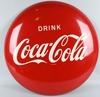 "1950s 36"" DRINK COCA COLA TIN BUTTON SIGN"