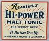 RENNER'S HI-POWER MALT TONIC TIN SIGN