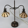 BRONZE DOUBLE SLAG GLASS STUDENT LAMP