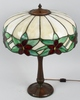 POINSETTIA STAINED LEADED GLASS TABLE LAMP