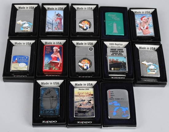 13- ZIPPO GREAT LAKES LIGHTER CLUB LIGHTERS