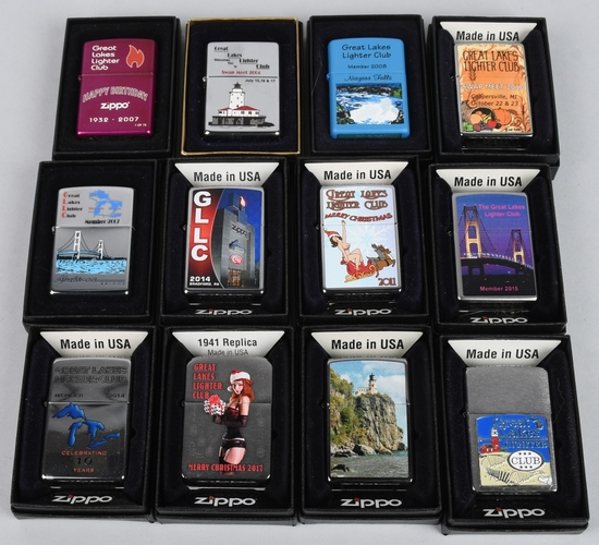 12- ZIPPO GREAT LAKES LIGHTER CLUB LIGHTERS