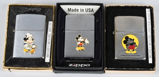3- ZIPPO WALT DISNEY MICKEY MOUSE LIGHTERS