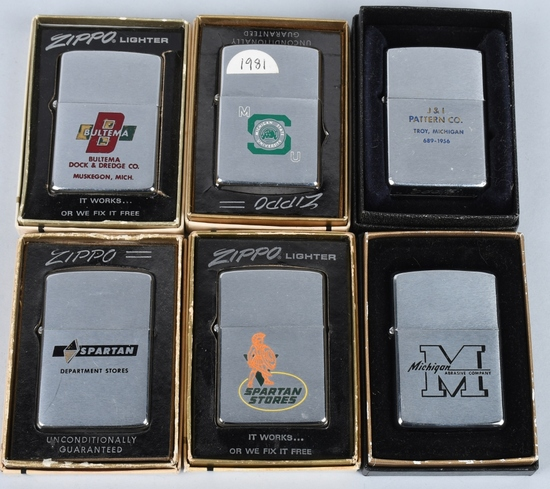 6- ZIPPO MICHIGAN ADVERTISING LIGHTERS