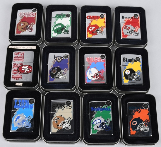 12- ZIPPO NFL FOOTBALL TEAM LIGHTERS