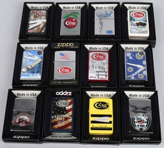 12- ZIPPO CASE KNIFE LIGHTERS