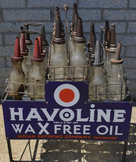 Indian Havoline Wax Free Oil Bottle Rack w/Porcel