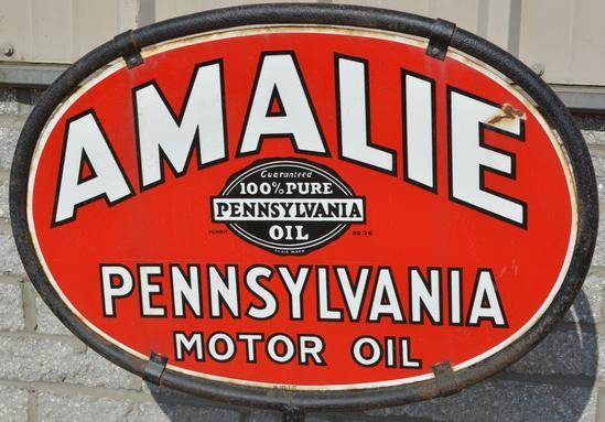 Amalie Pennsylvania Motor Oil w/seal logo Porcelai