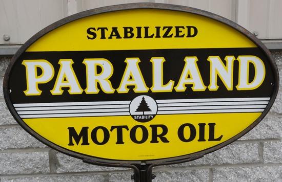 Paraland Motor Oil w/logo Porcelain Sign