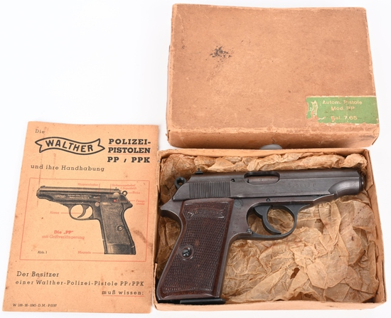 EXCELLENT LATE WAR WALTHER .32 PP IN ORIGINAL BOX