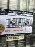 UNUSED SUIHE 20' BIFOLD IRON GATE W/DEER DESIGN