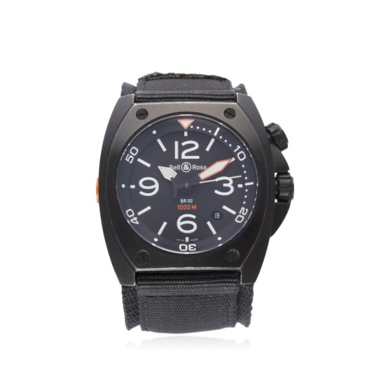 A GENTLEMANS PVD COATED BELL  ROSS 1000M DIVERS WRIST WATCH CIRCA 2008 REF BR0220 D Black dial with