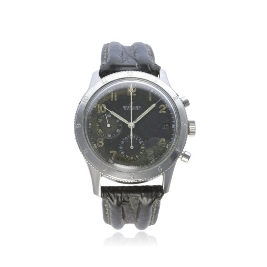 A RARE GENTLEMANS STAINLESS STEEL BREITLING AVI CHRONOGRAPH WRIST WATCH CIRCA 1950s REF 765 D Black