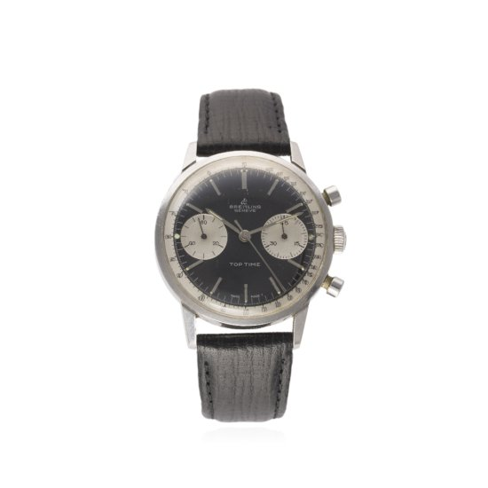A GENTLEMANS STAINLESS STEEL BREITLING TOP TIME CHRONOGRAPH WRIST WATCH CIRCA 1960s REF 2002 D Black