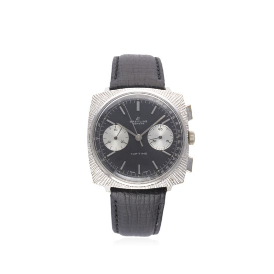 A GENTLEMANS BREITLING TOP TIME CHRONOGRAPH WRIST WATCH CIRCA 1970 REF 2007 D Black dial with silver