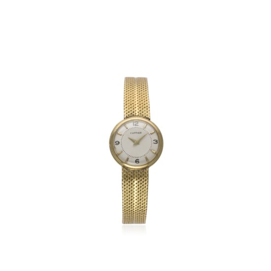 A FINE LADIES 18K SOLID GOLD CARTIER BRACELET WATCH CIRCA 1950s  D Silver dial with gilt dagger bato