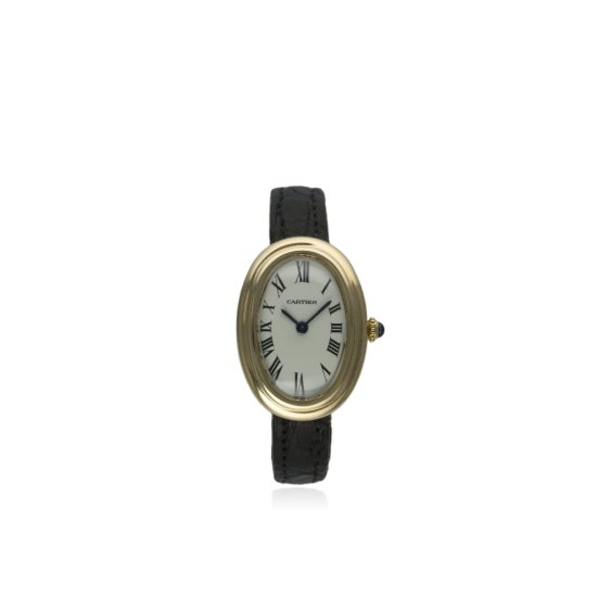 A FINE LADIES 18K SOLID GOLD CARTIER BAIGNOIRE WRIST WATCH CIRCA 1970s  D White dial with black Roma