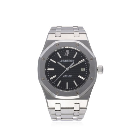 A GENTLEMANS STAINLESS STEEL AUDEMARS PIGUET ROYAL OAK BRACELET WATCH CIRCA 2008 REF 15300  D Blue G