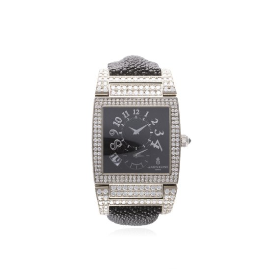 A FINE 18K SOLID WHITE GOLD  DIAMOND DE GRISOGONO INSTRUMENTO No UNO WRIST WATCH DATED 2009 REF 0022