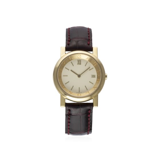 A LADIES 18K SOLID GOLD BULGARI WRIST WATCH CIRCA 1999 REF AT 33 GL WITH BOX PAPERS  ADDITIONAL LEAT