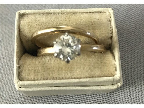 Ladies 1.22 Ct. Diamond Solitaire Ring 18kt. Gold With Band