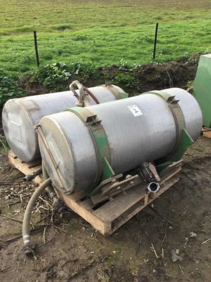 Pallet of Stainless Steel 100 Gallon Side Tanks