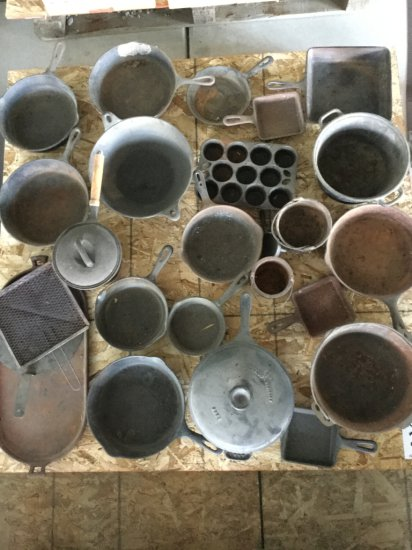 Pallet of Antique Cast Iron Pots & Pans