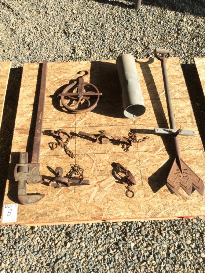 Pallet of Antique Hay Knife, Pipe Wrench, Traps & Rope Pulley
