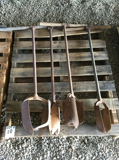 Pallet of (4) Antique Post Hole Augers