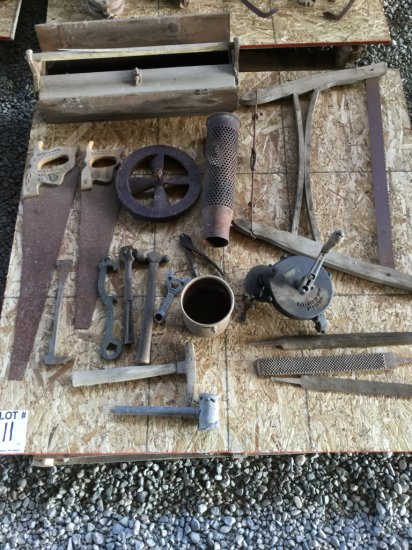 Pallet with Antique Bow Saw, Hand Grinder, Misc Hand Saws